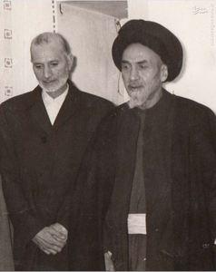 استاد محمدتقی شریعتی در کنار آیت الله العظمی سید محمد هادی حسینی میلانی