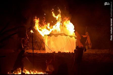 به آتش کشیدن خیمه ها در روز عاشورا توسط سپاهیان یزید