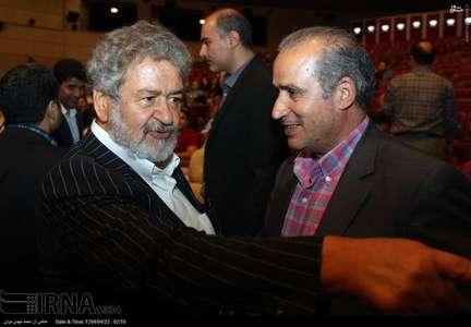 مهدی تاج (راست) و امیرعابدینی(چپ) در مراسم قرعه کشی لیگ برتر