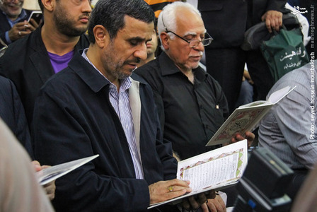 حضور احمدی نژاد در بزرگداشت شهید «ابو منتظر المحمداوی» مسئول عملیات سپاه بدر عراق