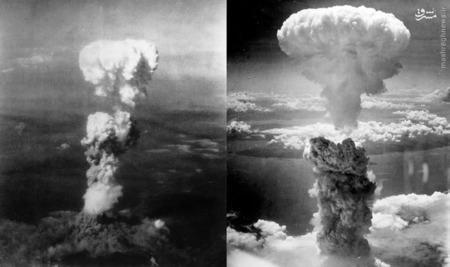 استفاده دولت آمریکا از بمب هسته ای در هیروشیما در تصویر سمت چپ و ناکازاکی در تصویر سمت راست قابل مشاهده است. در 6 و 9 آگوست 1945