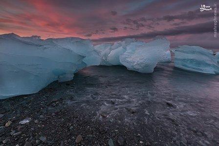 غروب آفتاب در تالاب یخی «ایسلند»