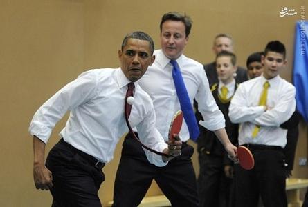 باراک اوباما و دیوید کامرون در یک مسابقه دوستانه پینگ پنگ