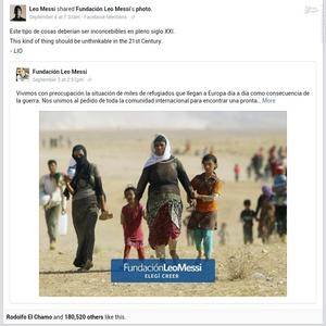 لیونل مسی ، ستاره ارژانتینی بارسلونا هم در پیغامی در صفحه شخصی خود در فیسبوک از پناهجویان سوریه ای حمایت کرد