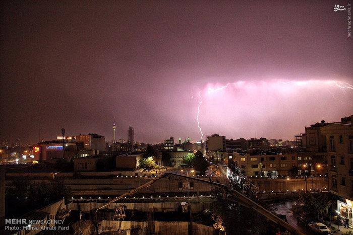 رعد و برق امشب آسمان تهران