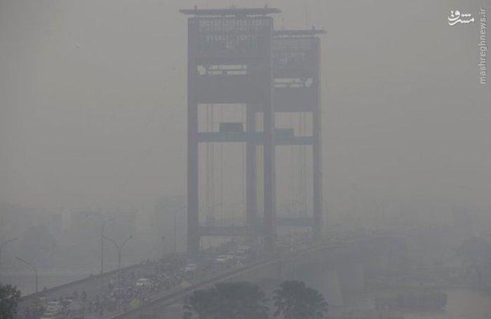 آلودگی بر اثر آتش سوزی مزارع و جنگل ها در «سوماترا» اندونزی (AP)