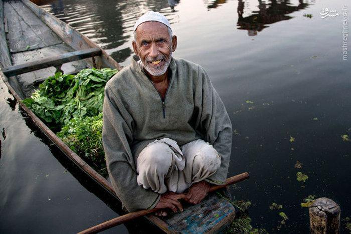 یک فروشنده سبزی در بازار شناور «سرینگر» هند