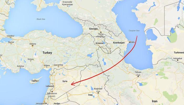 مسیر شلیک موشک روسیه به سمت داعش