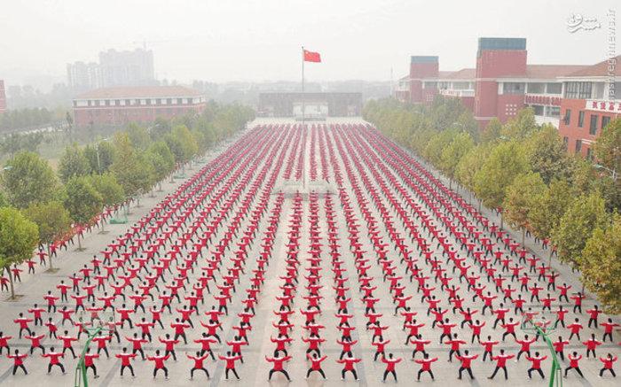 تمرین گروهی «تای چی چوان» ورزش رزمی چین