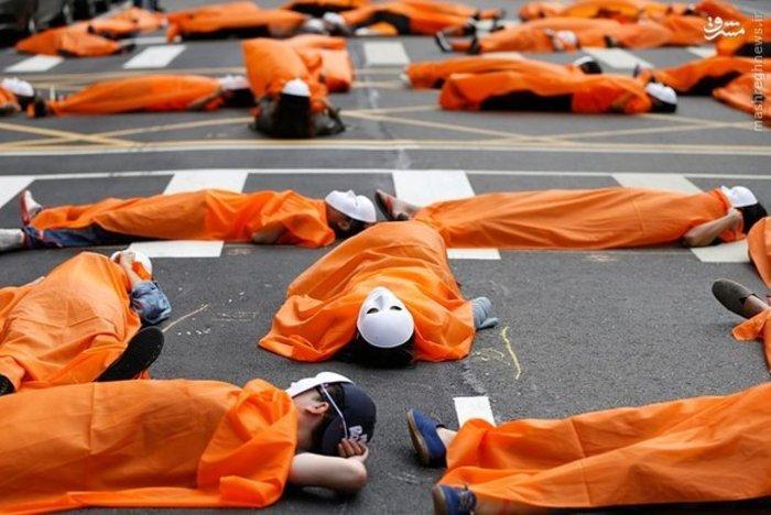 اعتراض کارگران تایوانی مقابل ساختمان دولت