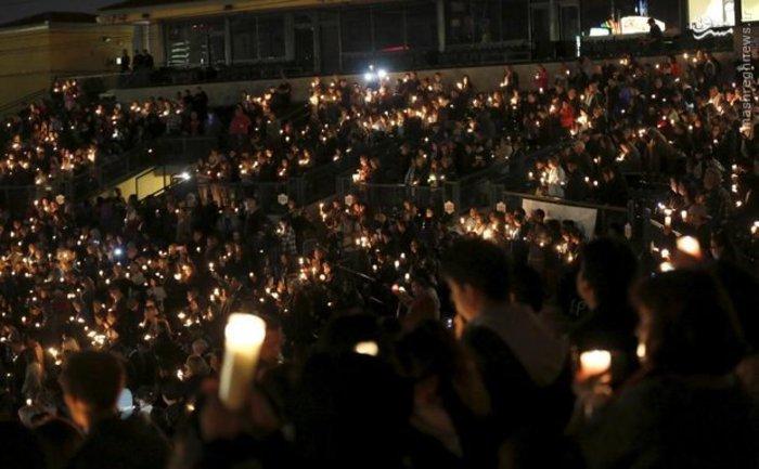 مراسم یادبود کشته های حادثه تیراندازی در آمریکا