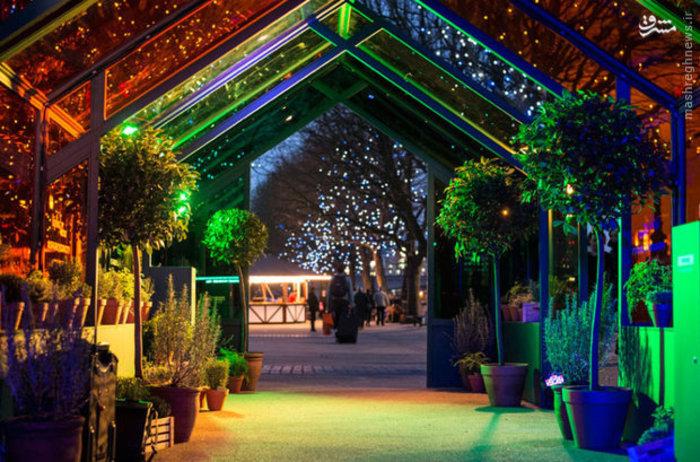 تزئینات کریسمس کنار گلخانه ای با شیشه های رنگی