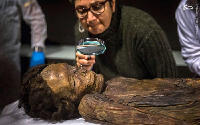 مطالعه باستان شناسان روی پیکره یک مومیایی در موزه ملی باستانشناسی مادرید