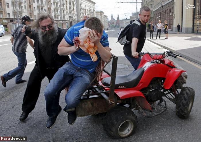 درگیری نیروهای امنیتی با معترضان در مسکو. 30 می 2015