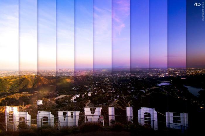 ترکیبی از یازده عکس از نمای هالیوود در لس انجلس آمریکا، عکس تغییرات این نما را طی ۷۵ دقیقه نمایش میدهد