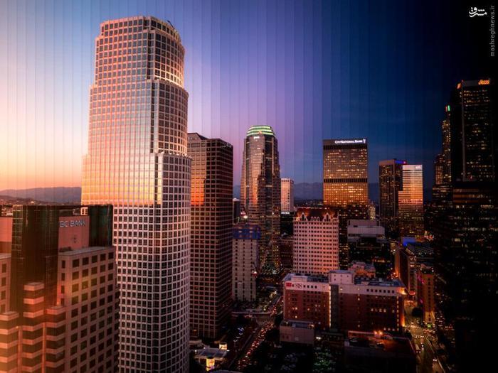 ترکیبی از پنجاه و پنج تصویر برای نمایش مرکز شهر لسآنجلس، ایالاتمتحده