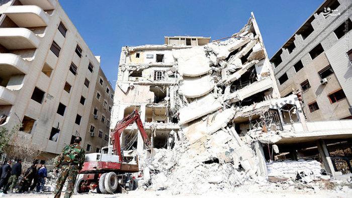 ساختمانی که شهید قنطار و هشت رزمنده دیگر حزبالله در آن به شهادت رسیدند.