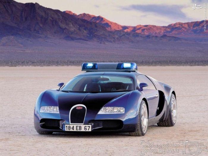 بوگاتی ویرون – قیمت: ۱٫۶ میلیون دلار :::::::::::  نیروی پلیس دوبی یکی از سریعترین خودروهای جهان را در ناوگان خودروهای منحصر به فرد خود دارد. همانند دیگر خودروهای پیشرفته پلیس دوبی، بوگاتی ویرون نیز برای تعقیب مجرمان در خیابان های این شهر استخدام نشده و بیشتر برای جلب توجه گردشگران به کار گرفته می شود. بوگاتی ویرون توانایی دستیابی به بیشینه سرعت بیش از ۲۵۰ مایل در ساعت (بیش از ۴۰۰ کیلومتر در ساعت) را دارد. شتاب اولیه این خودرو برابر با ۲٫۴۶ ثانیه است.