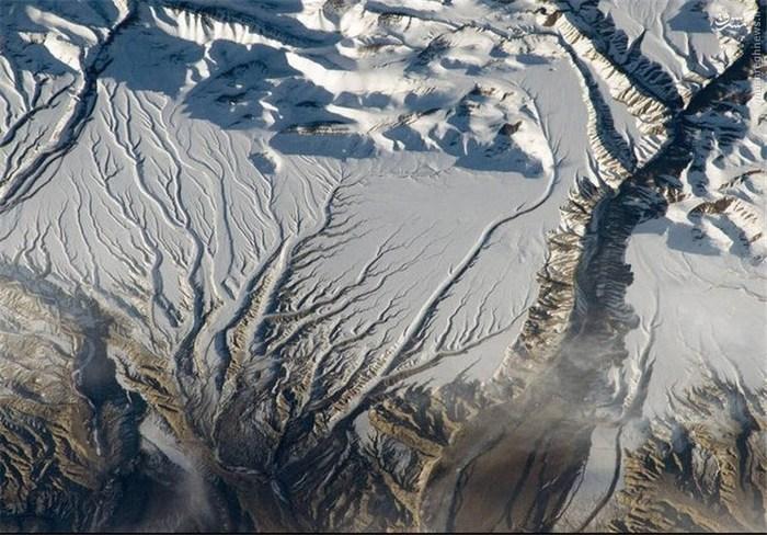 رودخانهها و برف در رشتهکوه هیمالیا