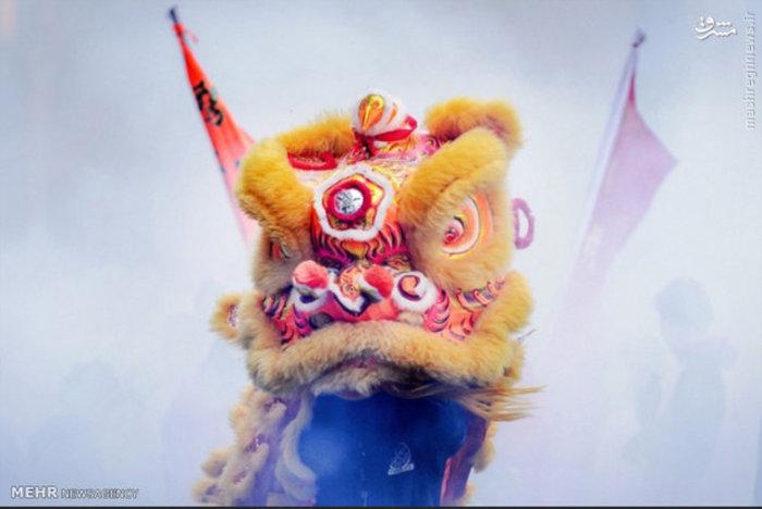 مجسمه اژدهای چینی در جشن سال نو در هلند