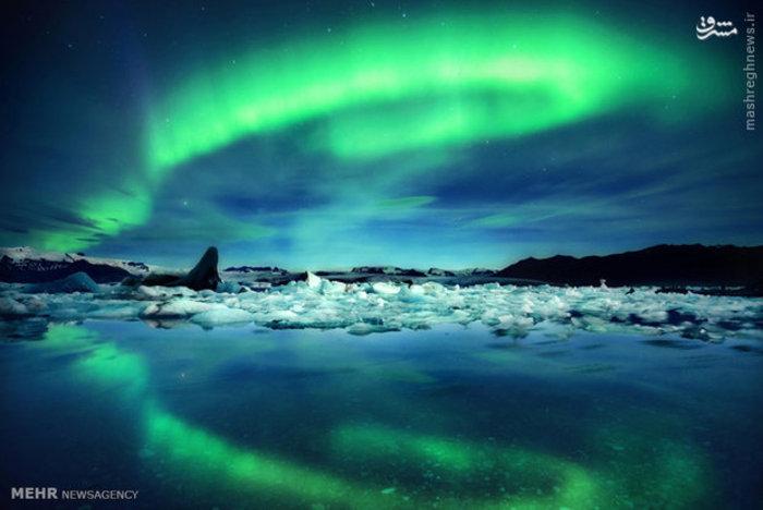 تصویر شفق قطبی در یخچال های طبیعی ایسلند