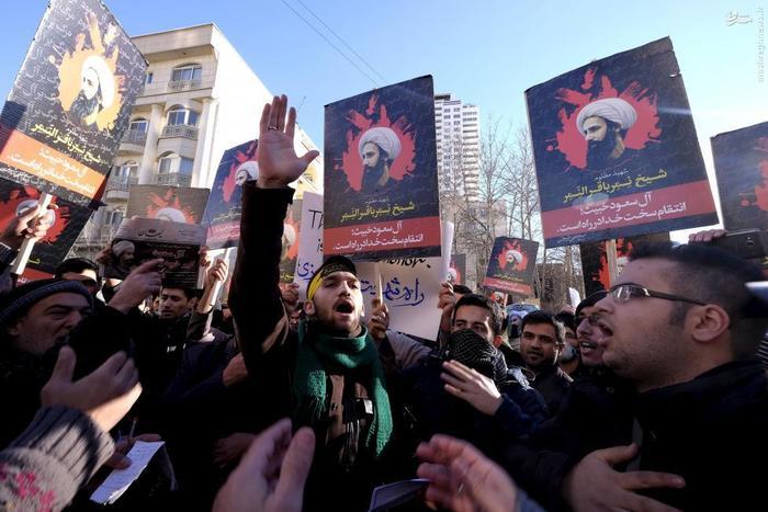 تجمع معترضان در مقابل سفارت عربستان سعودی در تهران