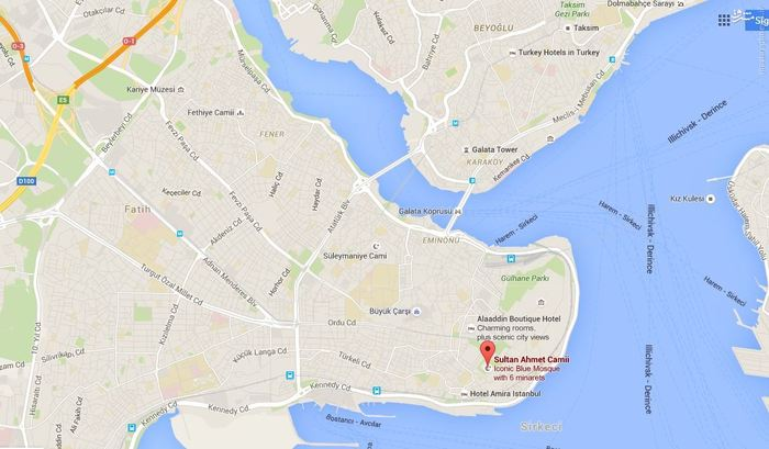 نقشه محل انفجار در منطقه سلطان احمد استانبول