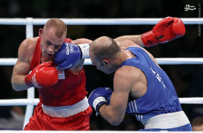 حریف هلندی روزبهانی از المپیک حذف شد عکس/ مبارزه بوکس روزبهانی با حریف هلندی
