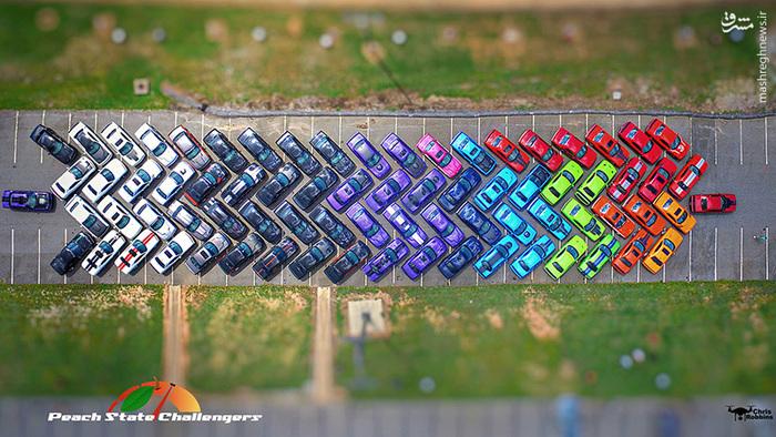 ماشین های خوش رنگ,ماشین های رنگی,پارک کردن ماشین,پارک ماشین,پارک ضربدری ماشین