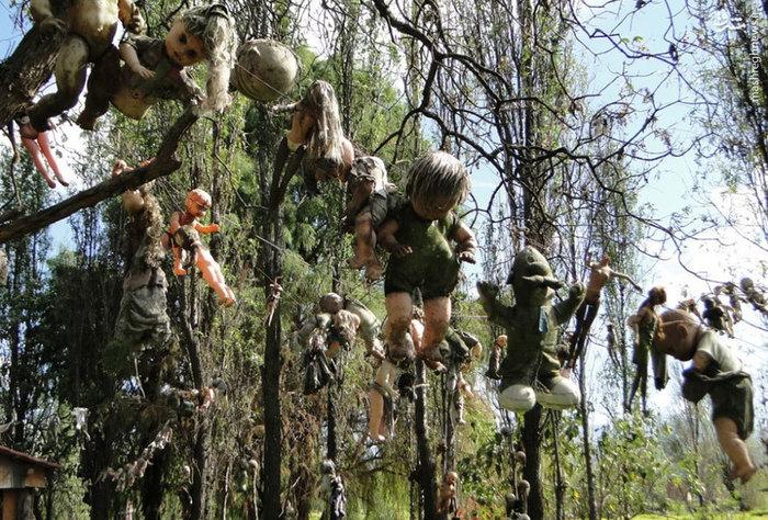 جزیره عروسکها _  این عروسکها در یک جزیره بدون سکنه و خالی در مکزیک هستند. افسانهها میگویند یک دختر کوچک غرق میشود و چند روز بعد جسد او پیدا میشود و عروسک شنا کنان به یک جزیره خالی از سکنه میرود و تا به امروز همه عروسکها به درختان گره خوردهاند.